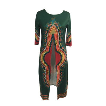 New Fashion frican Women Clothing Print African Dresses For Women Polyester Front Splite Dress African Clothes GS