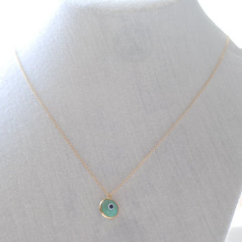 Evil Eye Necklace- Gold Filled, Green Evil Eye, Hamsa Necklace, Gold Evil Eye Necklace