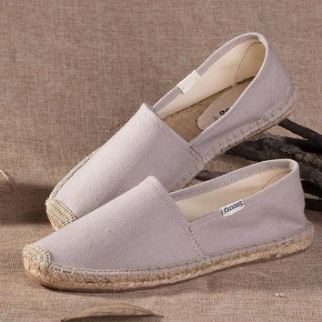 Soludos Gray Canvas Platform Smoking Embroidery Slipper - Best Deal Online