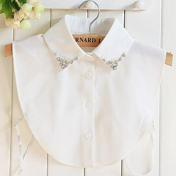 Vintage Fake Collar crystal pearl chiffon shirt lapel Female Pendant Winter cowboy fake collar shirt female foreign