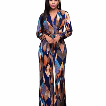 Spring Fashion Printed Rompers Womens Jumpsuit Belted Rope Long Deep V-Neck Body Feminino Overalls Jumpsuits