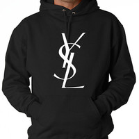 Men YSL Paris Hoodie Sweatshirt screen printing on Quality American Brand apparel S-3XL