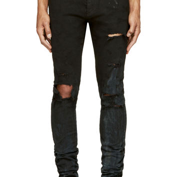 Saint Laurent Black Destroyed Denim Slim Fit Jeans