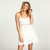 White Strappy Pleated Dress with Waist Cut-out