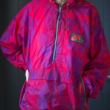 Nike Light Running Track Jacket – Red Purple Abstract 90's Windbreaker - Nylon Coat Fitness Jacket – Size L Unisex Sports Jacket with Lining