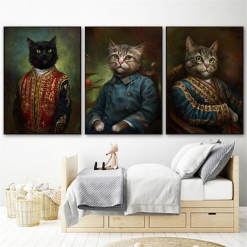 Modern Minimalist Wall Art Retro Black White Kawaii Cat Poster Wall Pictures for Living Room Canvas Painting Kids Room Decor