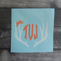 Antler Monogram Decal, Vinyl Monogram, Preppy Monogram, car decal, yeti decal, laptop decal, vinyl sticker, custom, truck decal