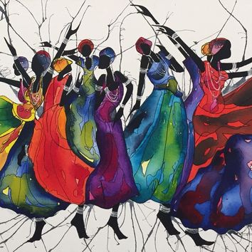 Paddy Muchwa Women Dancers Painting