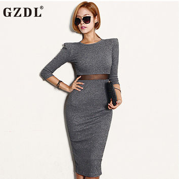 2016 New Women Party Dresses Long Sleeve Mesh Sheer Work Office Spring Autumn Dress Sexy Club Bodycon Bandage Midi Vestidos 1560