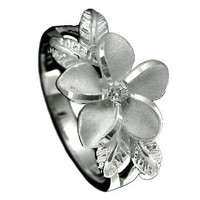 Sterling Silver Rhodium Plated Plumeria and Maile Leaf Synthetic CZ Ring