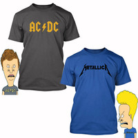 Beavis & Butthead Halloween Costume T-shirt ACDC Metallica party Youth Adult size party dress up Shirts S-3XL