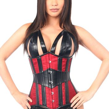 Daisy Corsets Top Drawer Faux Leather & Brocade Steel Boned Underbust Corset