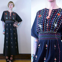 Vintage Ethnic Hand Embroidered Empire Waist Black Cotton Maxi Dress
