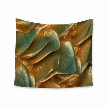 """Danny Ivan """"Gold Rock"""" Gold Green Abstract Geological Digital Mixed Media Wall Tapestry"""