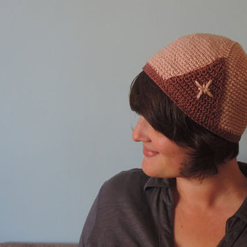 Crochet Mauve and Plum Cloche Hat Embroidered Vintage Pattern