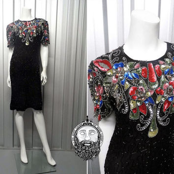 Vintage 80s Indian Silk Beaded Dress Sequin Trophy Backless Keyhole Cocktail 1980s Black Sequence Dress Sequinned Art Deco 1920s Flapper