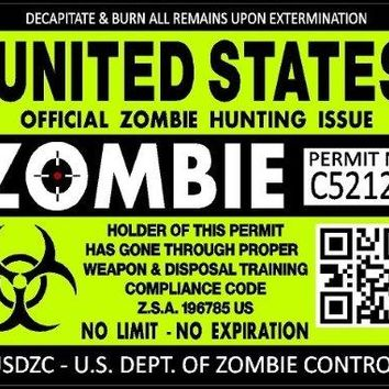 "ProSticker 1200 (TWO pack) 3""x 4"" Zombie Series ""United States"" Hunting License Permit Decal Sticker"