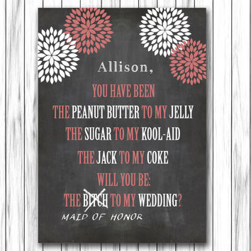 Will you be my bridesmaid Card - Download Instantly - Maid of Honor Card - Printable Bridesmaid Card - Funny Bridesmaid Card - Editable Text