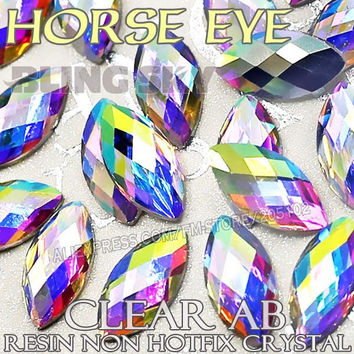 4x8mm 6X12mm Fashion Nail Art Clear AB Horse Eye Resin Crystals Non Hotfix Flatback Rhinestone glitters Bling for 3D Nails Stone