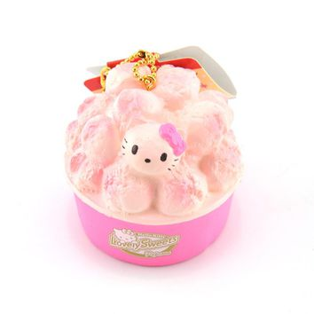 New Cute Hello Kitty Popcorn Squishy Soft Sweet Pink Kawaii Cat Bread Cartoon Collectibles Toy Ballchain with Tag 1PCS