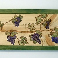 Grape Vines, Pyrography, Wood burning, Wood Wall Art, Home Decor