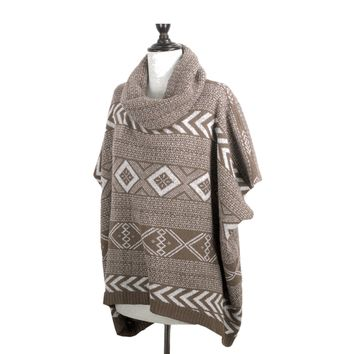 Cowl Neck Printed Poncho in Tan