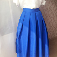 Women Full Midi Skirt with pockets - Blue Pleated Midi Skirt - Taffeta Tea Length Skirt - Ladies Autumn Fashion - Party skirts day Skirts