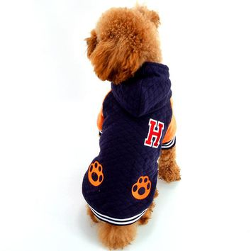 Paw Winter Dog Jacket Blue Thick Flannel Pet Hoodie Costumes Supplies For Puppy Small Animals Toy Terrier Yorkie Dachshund Pugs