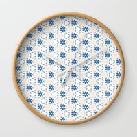 Acrylic Blue Floral Triangles Wall Clock by Doucette Designs