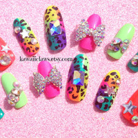 Queen B Neon Cheetah or Leopard 3D False/Fake Full cover Nails