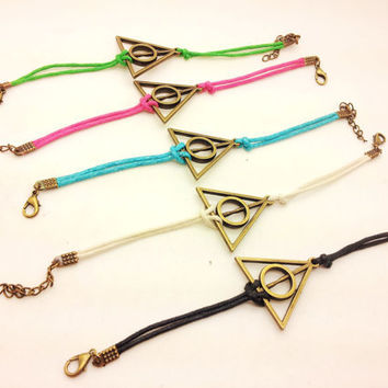 Antique Brass Harry potter Deathly Hallows Black Rope Bracelet women ropes bracelet Men rope bracelet  1317A