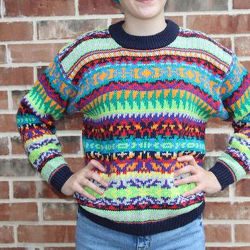 Vintage 90s 00s Nautica Knit Bright Crazy Aztec Tribal Sweater