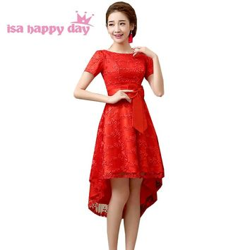 lace red asymmetrical short sleeve high low prom dresses women dreses womens dress long short back for party 2018 W2838