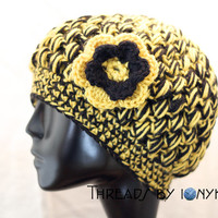 Crochet Bubble Hat - Pittsburgh Steelers, Penguins, Pirates, Black and Gold, Womens Fashion, Winter Accessories - Holiday Gift
