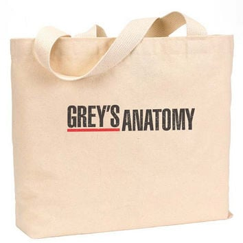 "Grey's Anatomy The Greys anatomy Canvas Jumbo Tote Bag 18""w x 11""h"
