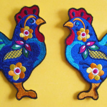 Embroidered Mexican Talavera Pottery Style Rooster Applique Patch, Mexican Folk Art, Quilt,Table Runner, Crafts, Home Decor, Iron On. Sew On