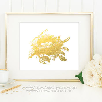 BIRDS NEST & EGGS Faux Gold Foil Art Print