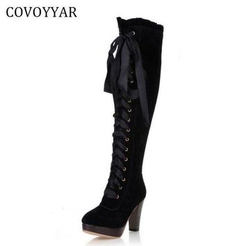 ONETOW 2017 Fashion Knee High Boots British Women High Heeled Riding Knight Boots Fall Winter