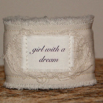 Inspirational Jewelry Bracelet Cuff Dream Jewelry ID Bracelet Tattoo Cover Up Coverup girl with a dream