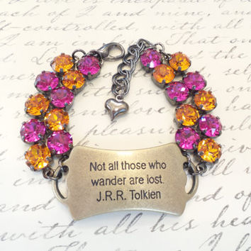 THOSE WHO WANDER, swarovski bracelet, quotes, 8mm, script bracelet, meaning, crystal, pink, orange, dksjewelrydesigns
