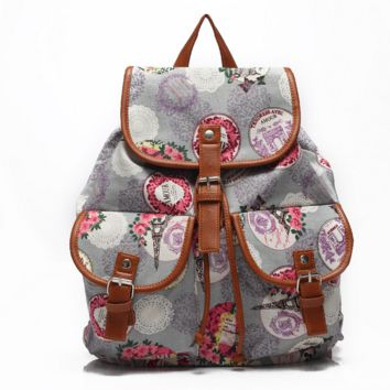 Sweet  Floral Printed Bag Backpack School Bag