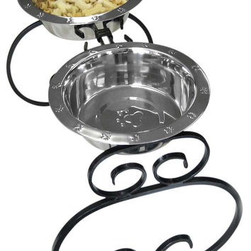 """Wrought Iron Elevated Dog Food Feeder - Diner, 16"""""""