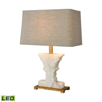 Cheviot Hills LED Table Lamp White Alabaster,Gold Leaf