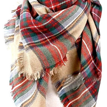 VALENTINE'S DAY GIFT - Plaid Blanket Scarf Oversized Zara Tartan Scarf in Multicolor Valentine Fashion Gift Ideas Accessories Scarf