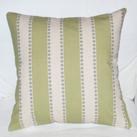 Green & Gray Stripe Pillow with Button Closure