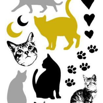 Rocooart Waterproof Flash Tattoo Golden Animal Black Silver Cats Gold Fake Tattoo Glitter Metallic Temporary Tattoo Sticker