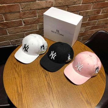 """""""New York"""" Unisex Fashion Puppy Letter Embroidery Baseball Cap Couple Peaked Cap Sun Hat"""