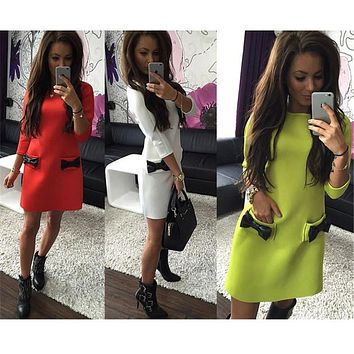 Plus Size Mini Dress New Arrival Women Pockets bow Bottoming Winter Straight Casual Three Quarter Sleeves Solid Dress LJ1214QAFE