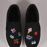 Wild Diva Lounge Embroidered OOPS Patches Slip On Sneaker