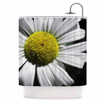 "Nick Nareshni ""Open Daisy"" White Blue Shower Curtain"